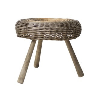Tony Paul Low Wicker Stool / Ottoman For Sale