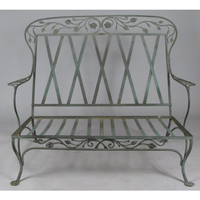 Gray Wrought Iron Settees by Salterini, Circa 1950 - a Pair For Sale - Image 8 of 11