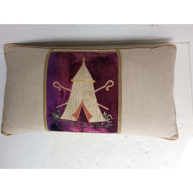 New custom made pillow using a vintage Masonic textile remnant depicting a embroidered tent in neutral on purple velvet,...