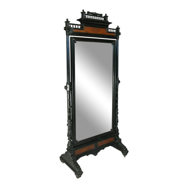 Antique 19th Century Ebonized & Burled Cheval Mirror For Sale