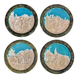 Antique Four Seasons (4) Wall Plaques/Plates; Schutz Cilli Majolica 1900-1920