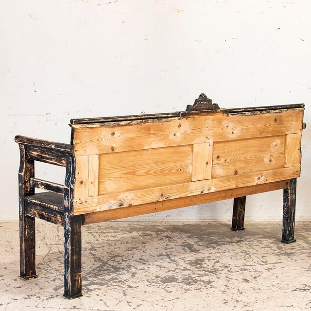Farmhouse Antique Simple Black Painted Pine Bench From Hungary For Sale - Image 3 of 9