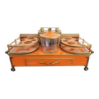 Mid-Century Vintage Orange Enamel Table Top Liquor Server Bar Tray For Sale
