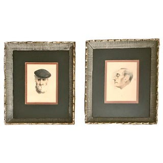 Vintage Mid-Century Frenchmen Portraits Colored Pencil on Paper Framed Signed A. T. Achenbach - A Pair For Sale