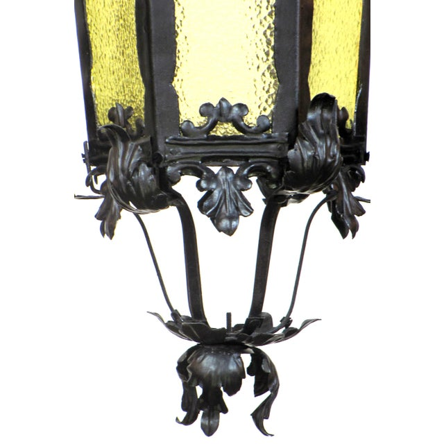 Restored 19th Century Black Wrought Iron Lantern With Textured Amber Glass For Sale - Image 4 of 5