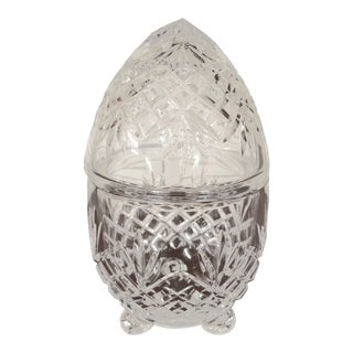 Clear Cut Crystal Lidded and Footed Egg