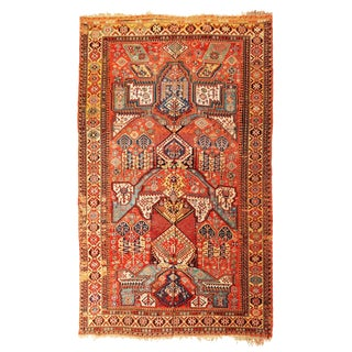 Antique Soumak Geometric Red and Blue Wool Rug - 6′3″ × 10′6″ For Sale