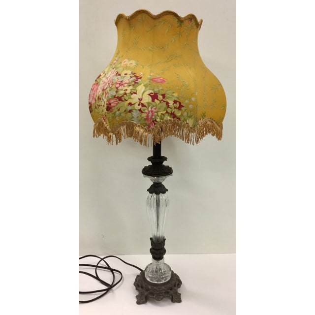 Vintage Glass Table Lamp With Antique French Lampshade For Sale - Image 13 of 13