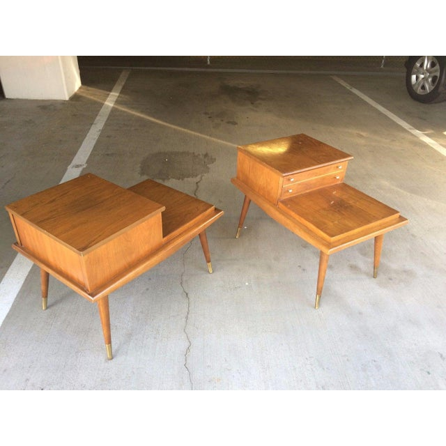 Mid-Century Modern Mid-Century Step Side Tables - A Pair For Sale - Image 3 of 10
