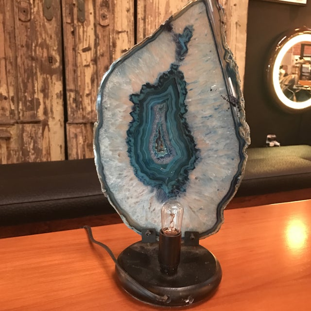 Italian Agate Table Light For Sale - Image 9 of 9