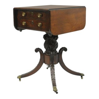19th Century Antique Regency Empire Mahogany Drop Leaf Work Stand Side Table For Sale