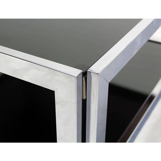 Contemporary Mid-Century Modern Square Chrome & Smoked Glass Coffee Table For Sale - Image 3 of 10