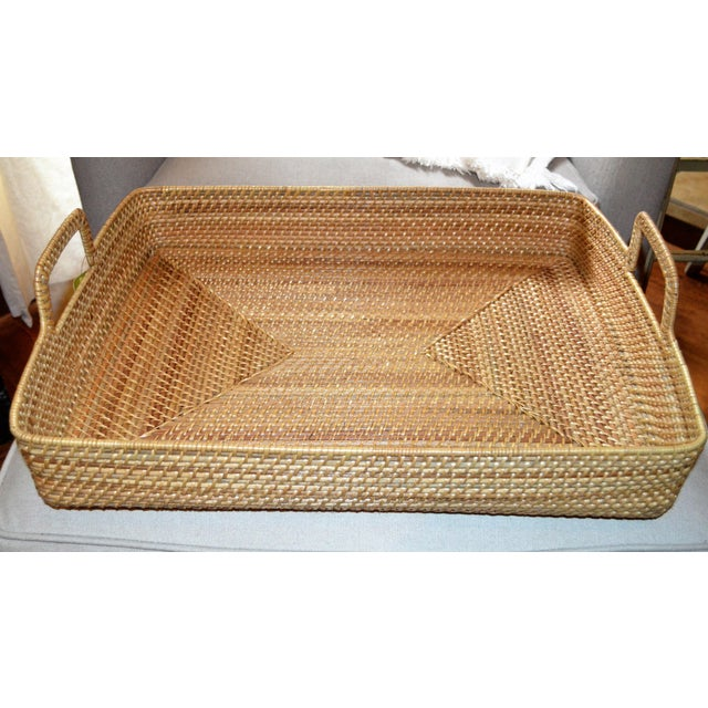 Cottage Style Rattan Woven Large Handled Tray For Sale - Image 4 of 9
