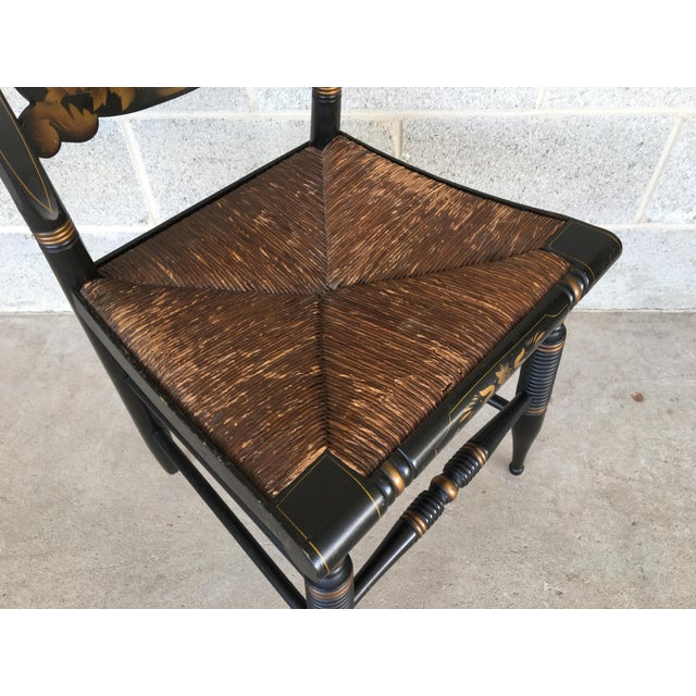 English 1940s L. Hitchcock Rush Bottom Bolster Turtle Back Side Chair For Sale - Image 3 of 10