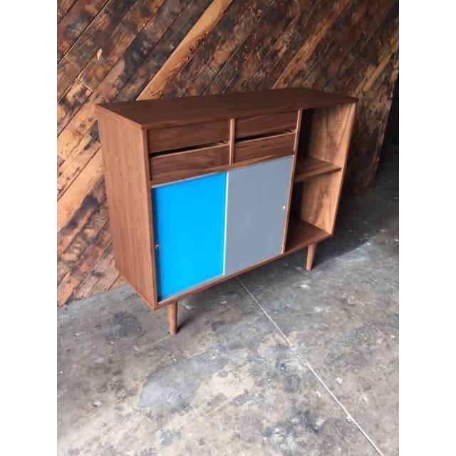 Mid-Century Style Custom Walnut Cabinet - Image 5 of 7
