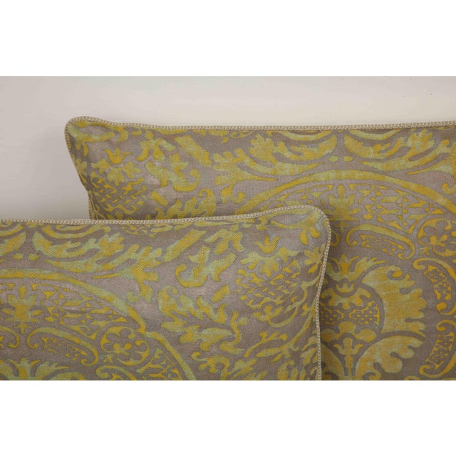 Fortuny Fortuny Pillow in Acid Green and Grey For Sale - Image 4 of 9