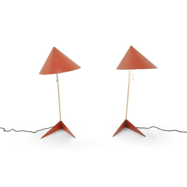 Exceptional pair of table lamps designed by Svend Aage Holm Sorensen. These are completely original with attractive wear.