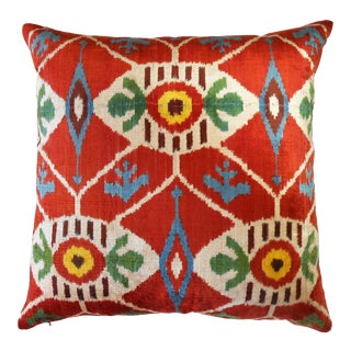 Red Ottoman Deluxe Silk Velvet Ikat Pillow