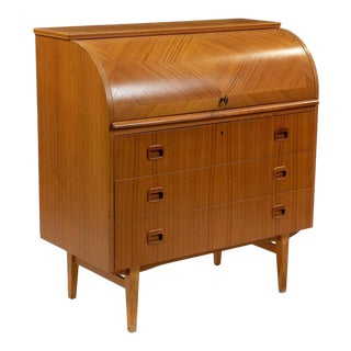 1970's Mid-Century Danish Teak Cylinder Roll Top Desk For Sale