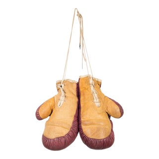 Vintage Horse Hair and Leather Boxing Gloves C.1940 For Sale