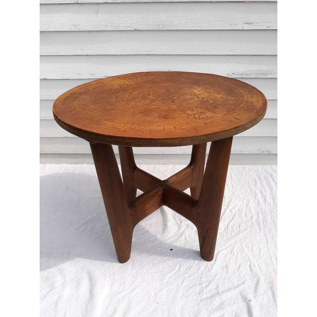 1960s Mid-Century Modern Angel Pazmino, Ecuador, Leather and Wood Table For Sale - Image 12 of 12