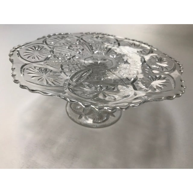 Glass Vintage 1960's Imperial Cut Glass Cake Stand For Sale - Image 7 of 7