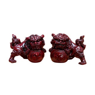 Oxblood Red Foo Dogs, a Pair For Sale