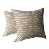 "Image of Brunschwig and Fils ""Pewter"" Le Zebre Tan Pillows - a Pair For Sale"