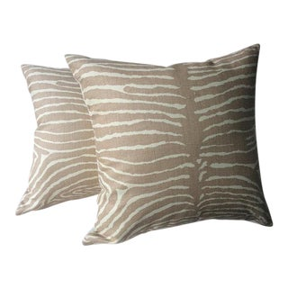 "Brunschwig and Fils ""Pewter"" Le Zebre Tan Pillows - a Pair"