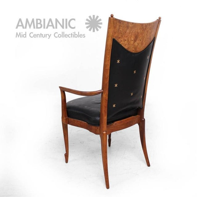 Animal Skin Set of 4 Walnut & Leather Mid-Century Dining Chairs For Sale - Image 7 of 10