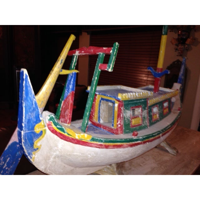 Decorative Vintage Children's Wood Boat with Stand - Image 5 of 11