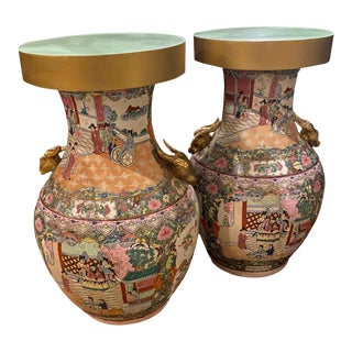 Palace Size Rose Medallion Vase Side Tables - a Pair For Sale