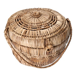 Lidded Wicker Basket With Closure For Sale