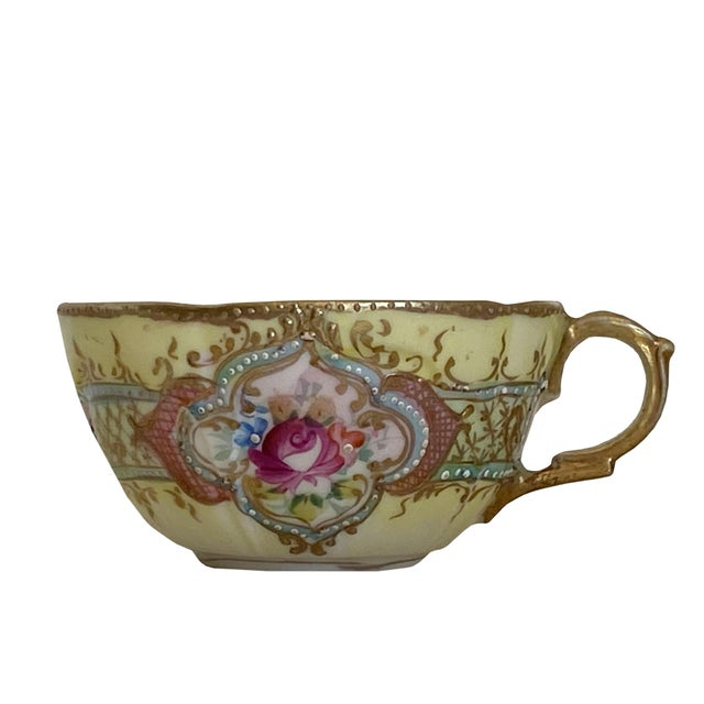 Antique Hand Painted Floral Tea Cup For Sale - Image 4 of 5