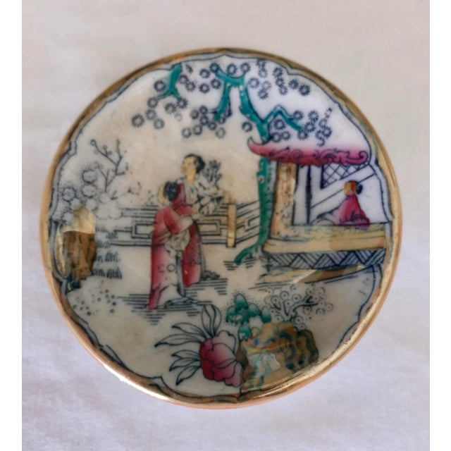 1980s Chinoiserie Sushi / Soy Sauce Dish, Set of 4 For Sale - Image 5 of 11