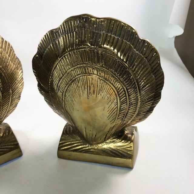 1970s Vintage Mid-Century Brass Clamshell Bookends - a Pair For Sale - Image 5 of 7