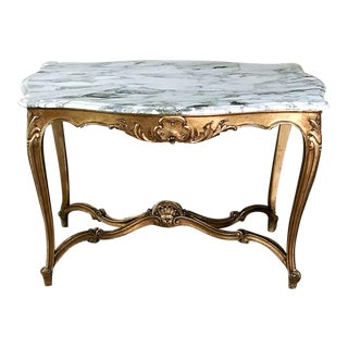 Giltwood Table, 19th Century French Louis XV With Marble Top For Sale