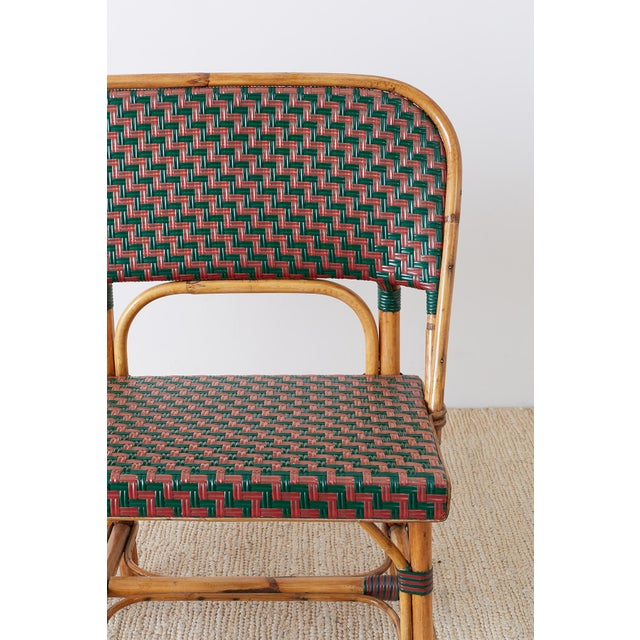 Late 20th Century French Maison Gatti Rattan Bamboo Banquette Settee For Sale - Image 5 of 13