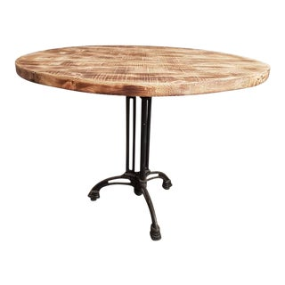 Round Industrial Dining Bistro Table Made From Reclaimed European Barnwood For Sale