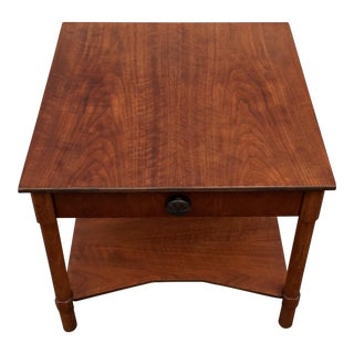 Mid Century Modern Henredon Refinished Walnut 2-Tier Side Table For Sale