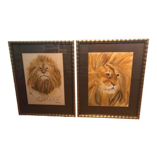 1970s Lions Watercolor Paintings by Sandra Finkenberg, Signed - a Pair For Sale