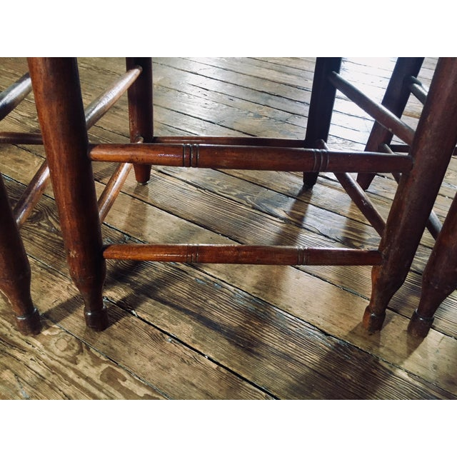 1820s Primitive Woven Seat Ladder-Back Chairs - Set of 4 For Sale - Image 4 of 7