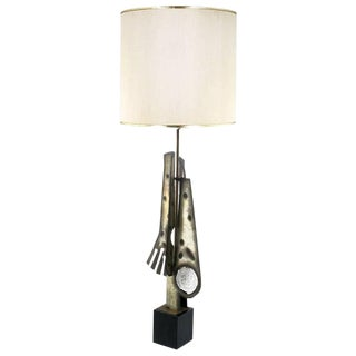 Substantial Tall Brutalist Metal Sculpture Lamp by Laurel For Sale