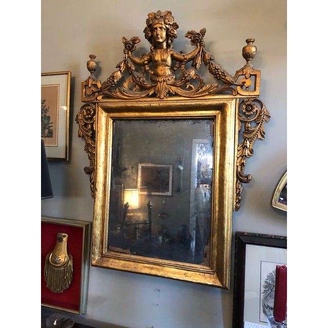 Circa 1800 Italian Carved Wood Neo Classical Gilt Mirror. Original, wonderful, faded silvered glass. Excellent antique...