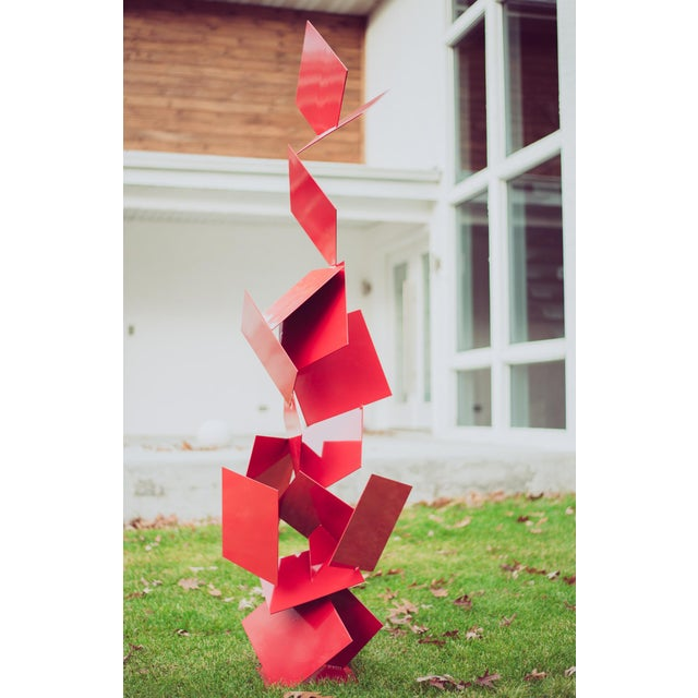 """Modern Abstract Balanced Gravity """"Sotto"""" Red Steel Sculpture For Sale - Image 4 of 11"""