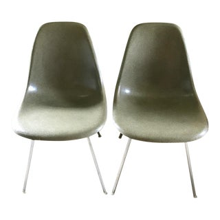 "Authentic Eames Herman Miller Molded Fiberglass Side Chairs in Rare ""Raw Umber"" color - a Pair For Sale"