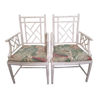 Chippendale Faux Bamboo Arm Chairs - a Pair For Sale