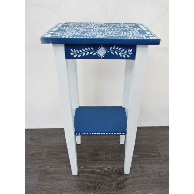 1970s 1970s Vintage Small Hand Painted Accent Side Table For Sale - Image 5 of 5