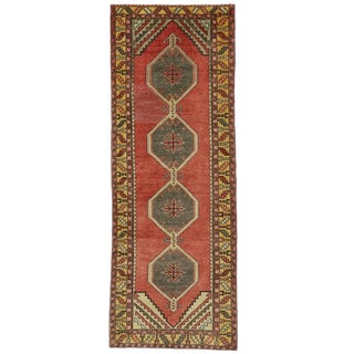 Vintage Turkish Oushak Carpet Runner with Modern Tribal Style