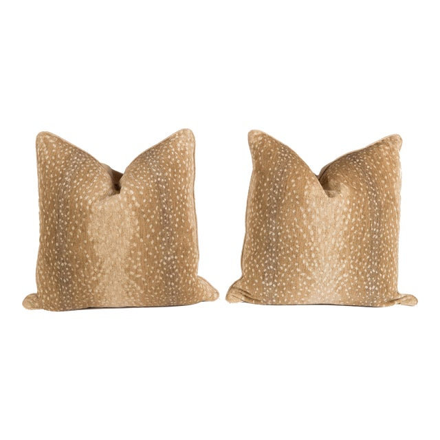 Khaki Chenille Antelope Pillows - a Pair - Image 1 of 5